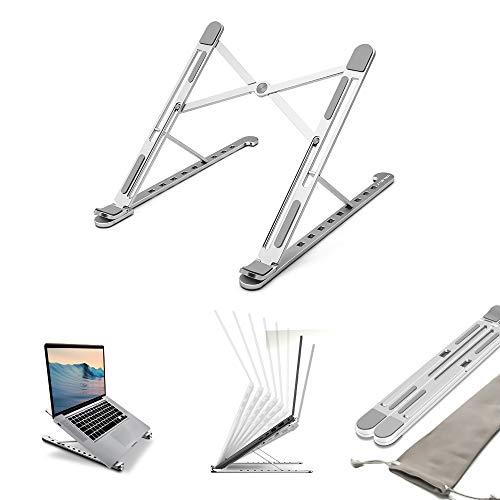 STETEC Laptop Stand for desk, 8 level adjustable, Aluminium Portable Foldable Laptop riser & holder, Lightweight Cooling Desktop Riser for most laptop up to 15.6', Thin but HARD design, Silver