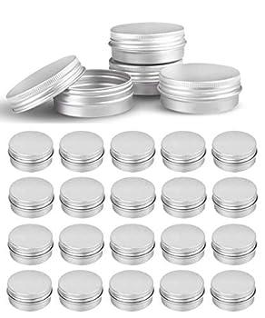 48 Pcs 1 oz Tins Silver Aluminum Tins Cans Screw Top Round Steel tins Cans with Screw Lid Screw Lid Containers