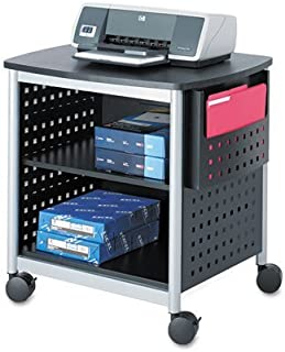 Safco Products Scoot Desk Side Printer Stand 1856BL, Black, 200 lbs. Capacity, Swivel Wheels, Silver Powder Coat Finish, Contemporary Design