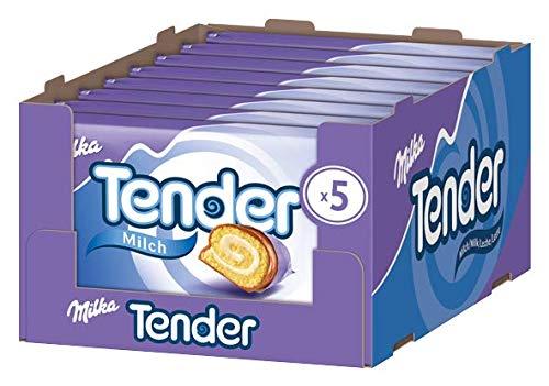 Milka Tender Milch - Biskuit-Rolle mit Milchcrèmefüllung und Vollmilchschokolade - 5er-Pack - 8 x 185g