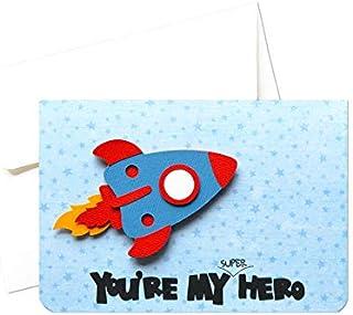My super hero - festa del papà - biglietto d'auguri (formato 10,5 x 15 cm) - vuoto all'interno, ideale per il tuo messaggi...