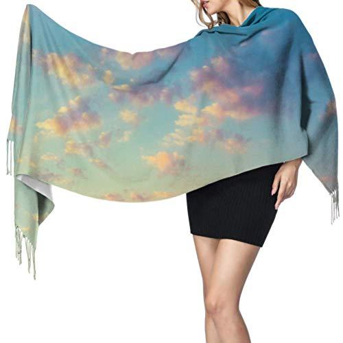 Warmer Damen-Schal, modisch, lang, himmelblau, orange, gelb, groß, weich, Kaschmir, Pashmina, Wickeltuch, leichte Quastenschal