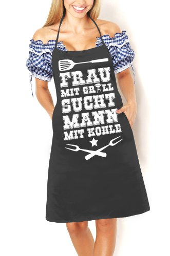 Artdiktat Grill Schürze - Frau mit Grill sucht Mann mit Kohle - Schürze, Grillschürze, Kochschürze, Latzschürze, schwarz