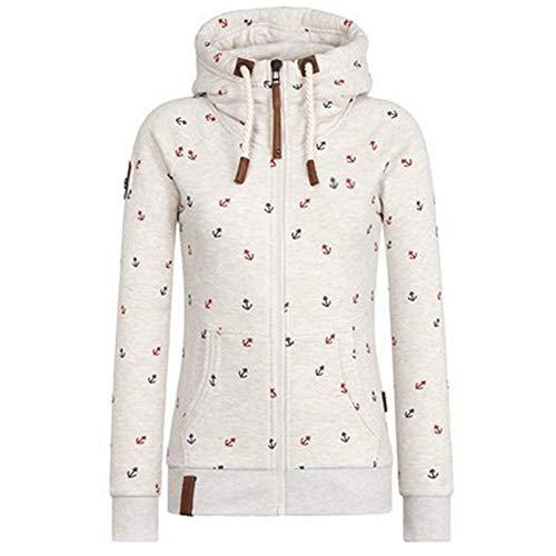Newbestyle Jacke Damen Sweatjacke Hoodie Sweatshirt Oberteile Damen Pullover Kapuzenpullover Pulli mit Reissverschluss (Weiß, M)