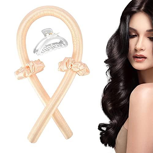 Hitzeloses Lockenstab-Stirnband, keine Hitze, seidige Locken Stirnband, weiche Schaumstoff-Lockenwickler, Lockenband und Flexi-Stangen für natürliches Haar (Champagner)