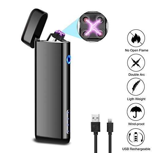 Funxim Elektronisches Feuerzeug, USB Wiederaufladbare Plasma Feuerzeug, Winddichtes Doppel-Arc Flammenloses Feuerzeug für Kerze, Outdoor-Camping, Upgrade-Version mit Power-Anzeige