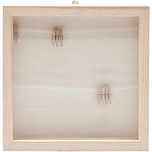 Rico 3D Holz- Objektrahmen mit Glas Schaukasten Bilderrahmen Holzrahmen, 33,6 x 33,6 cm