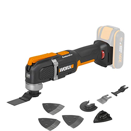 WORX WX696.9Akku-Multifunktionswerkzeug – Elektrisches 20V Werkzeug zum Schneiden, Sägen, Schleifen & mehr – Ohne Akku & Ladegerät
