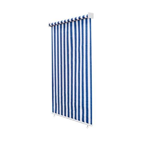 jarolift Außenrollo Senkrechtmarkise 180 x 240 cm (BxH) Blau - Weiss, Sonnenschutz Sichtschutz für Balkon Terrasse