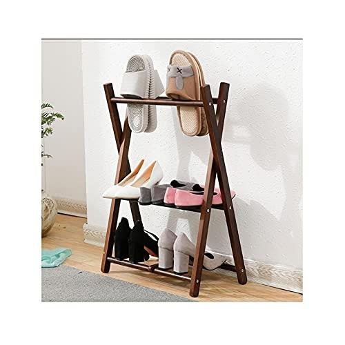 LYLY Zapatero plegable simple zapatero de madera para ahorrar espacio y zapatos, organizador de almacenamiento para entrada, pasillo y armario (color: color nogal)