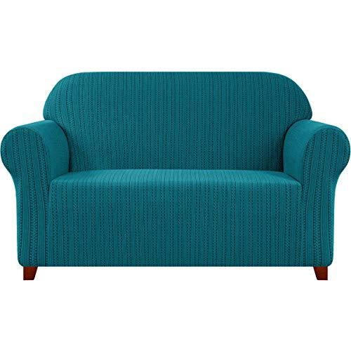 subrtex Sofabezug Stretch Gestreifter Jacquard Sofahusse Couchbezug Sesselbezug Elastischer Blumenmuster Antirutsch Stretchhusse für Sofa (3 Sitzer, Petrol Blau)