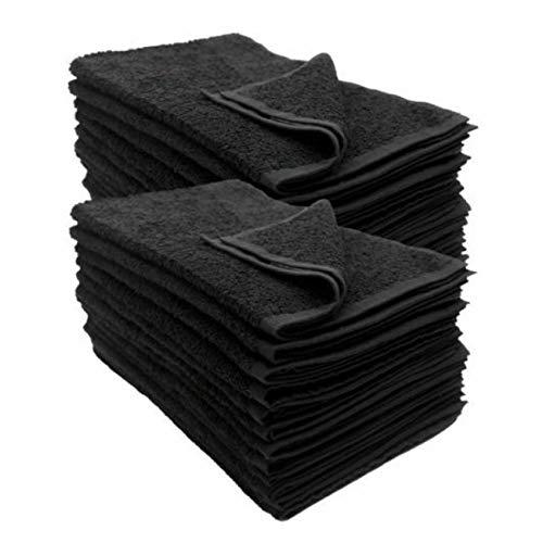 Friseurhandtuch 12er Pack schwarz - farbecht (Indanthren) - 100% Baumwolle - 400gr/m2 (Frottee, 50 x 90 cm)