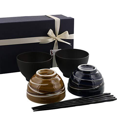 テーブルウェアイースト 和食器 らせん夫婦茶碗&お椀&箸ペア6点セット 食器セット 茶碗 (ネイビー×キャラメル) 包装紙ラッピング