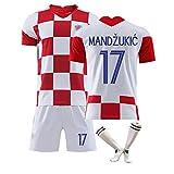 anpassbar 10 Modric 17 Mandzukic Supporters Trikot neues kroatisches Trikot Kinderfußballtrikot Sportkleidung für Erwachsene mit Fußballsocken-17#-M