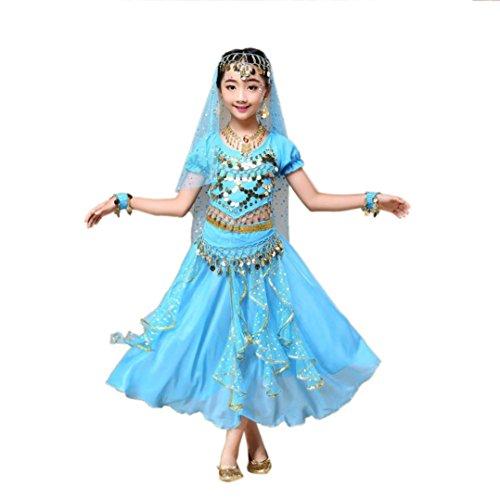 Hunpta @ Kinder Mädchen Bauchtanz Outfit Kostüm Indien Dance Kleidung Top + Rock (Sky Blue, 136~150cm)