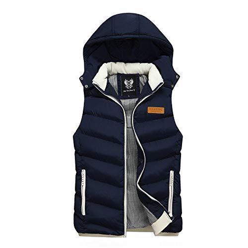 BAONUANY Gilet Mens,Donker Blauw Winter Vest Hooded Mannen Mouwloze Jassen Down Vest Casual Waistcoat Streetwear Top Mannen Overcoat Hoed Afneembaar Vest