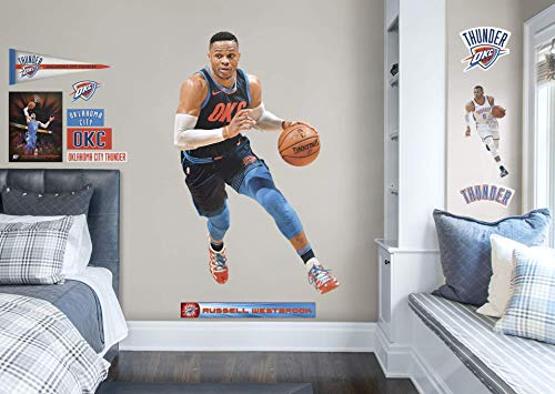 FATHEAD NBA Oklahoma City Thunder Russell Westbrook Officially Licensed Removable Wall Decal, Multicolor, Life Size - Ancillary - 22-20902
