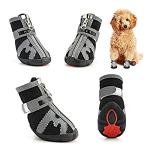 Hcpet Dog Boots, Breathable Dog Shoes TPR Rubber Outsole Non-Slip Waterproof Durable Outdoor Dog Rain Boots for Small to Large Dogs, Summer Paw Protectors for Hot Pavement 4Ps