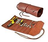Rouleau à outils en cuir rustique fait à la main, organisateur d'outils à 12 pochettes - Organisateur de...