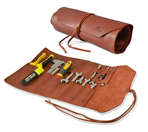 Rustieke lederen gereedschapsrol handgemaakte 12 zak gereedschapsorganizer - moersleutel Organizer & gereedschap zak Roll Up Tool Bag voor elektricien, loodgieter, timmerman, mechanische, kapper of kunstenaar schaar penseel Organizer
