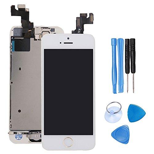 Écran LCD tactile de remplacement pour iPhone 5S, modèle complet avec bouton Home, caméra frontale et capteur de proximité, haut parleur interne, outils de réparation complets, protection d'écran
