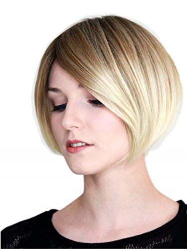 Prettyland pelo corto Ombre marrón rubio degradado bob corte suave peluca escalonada C861