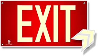 Photoluminescent Exit Sign Red W/Holes and Hardware - Aluminum Code Approved UL 924 / IBC/NFPA 101 (Directional Arrows Included)