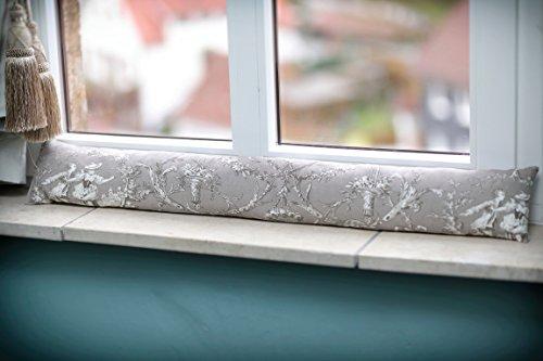 Zugluftstopper Zugluftkissen Toile de Jouy grau, Eleganz für Fenster und Türen in verschiedene Größen.
