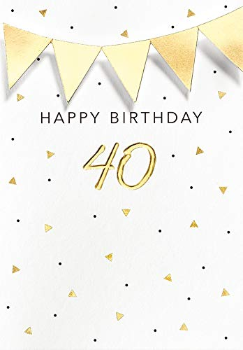 Geburtstagskarte zum 40. Geburtstag Black&Gold - Wimpelkette - 11,6 x 16,6 cm
