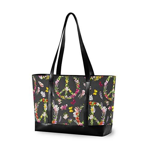 LZXO Laptop-Tasche, (15,6 Zoll), Peace-Zeichen, Blumen-Schmetterling, große Schultertasche, Reißverschluss, leicht,Handtaschen