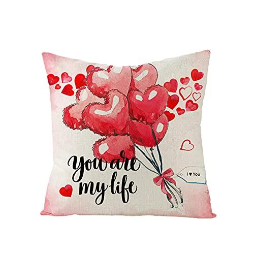 Fundas de Cojín Fundas de Almohada Decorativas Amor en Forma de corazón Globo Rosa Flor Rosa Cojines para Sala de Estar hogar sofá decoración Sofá Silla Coche Decorativa Almohada Fundas