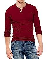 KUYIGO Mens Slim Fit Long Sleeve Beefy Fashion Casual Henley T Shirts of Cotton Shirts (Medium, Long Sleeve Wine Red)