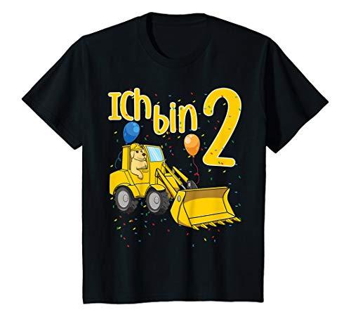 Kinder Zweiter 2. Geburtstag Bagger Hund Ich Bin Zwei 2 Jahre T-Shirt