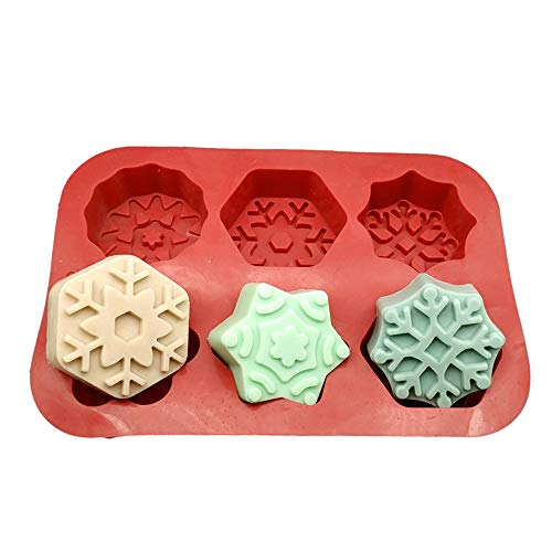 6 rejillas 3D de Navidad en forma de copo de nieve moldes de silicona para hornear 1 molde de chocolate gelatina molde de caramelo molde de pastel moldes de bricolaje herramientas de hornear