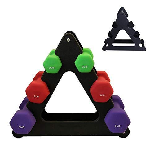TiKiNi Soporte de almacenamiento para mancuernas, triangular, hojas pequeñas, soporte para mancuernas para gimnasio en casa, accesorios de fitness (sin mancuernas)