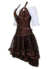 Grebrafan Steampunk Leather Corsets 3 Piece Outfits for Women Bustiers Skirt White Blouse Set Retro Gothic (UK(16-18) 3XL, Brown) #1