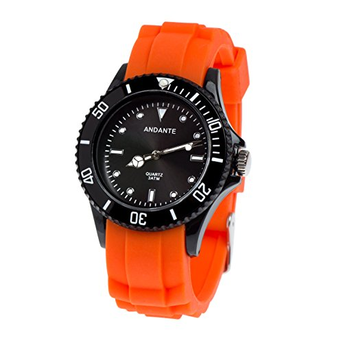 Andante Sportliche Wasserdichte Silikon Quarz Armbanduhr 3ATM Orange (SCHWARZ), Onesize