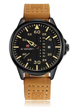 NAVIFORCE - Reloj de pulsera militar de piel de cuarzo impermeable para hombre