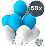 TK Gruppe Timo Klingler 50x Oktoberfest Luftballons Ø 35 cm Mix weiß & blau als Deko Dekoration...