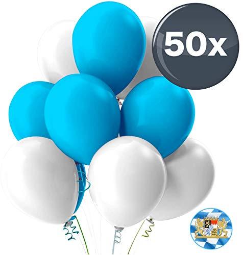 TK Gruppe Timo Klingler 50x Oktoberfest Luftballons Ø 35 cm Mix weiß & blau als Deko Dekoration für Wiesn, Canstatter WASN (50x Luftballons)