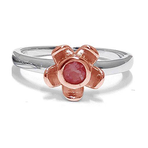 El joyero de anillo de no me olvides de florista & # 10047; & # 10047; Rojo Garnet & # 10047; Oro Rosa