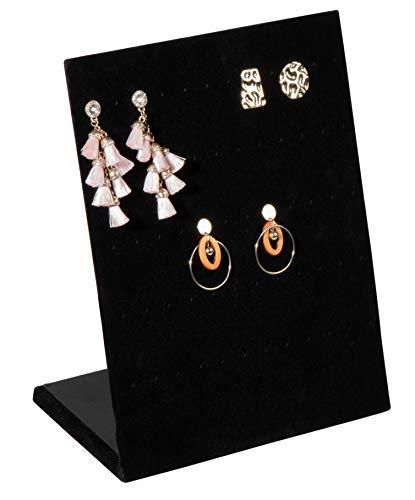 Soporte para pendientes, de terciopelo, en forma de L, organizador, estante, tablero, para joyas, accesorios, almacenamiento, tienda, hogar, mostrador, 60 agujeros, negro, 9.9 x 7.9 x 4 pulgadas