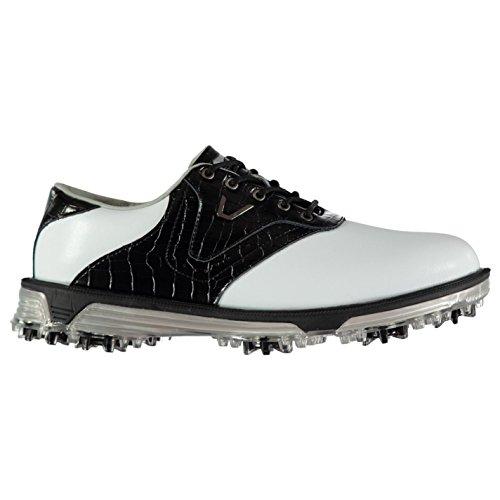 Slazenger Herren V500 Leder Golfschuhe Wasserfest Softspikes Weiß 45