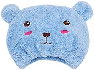 AUCH 1Pcs Adjustable Plush Cute Animal Baby Hair Drying Hat Super Absorbent Towel Adjustable Infant Shower Bath Cap for Kids Boys Girls from 1 to 12 Yrs, Blue Bear