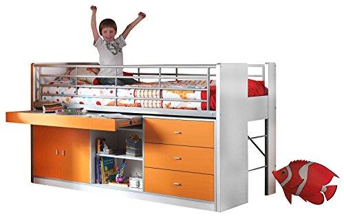 Jugendmöbel24.de Hochbett Jax weiß/orange inklusive Schreibtisch & Lattenrostplatte EN 747-1+2 Kinderzimmer Multifunktionsbett Kinderbett Halbhochbett
