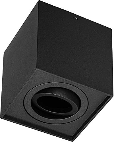 Focos empotrables para techo (GU10, 230 V, orientables, cuadrados), color negro