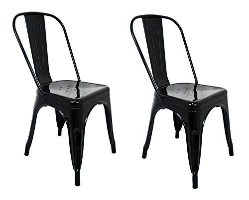 La Silla Española - Pack mit 2 Stühlen im Tolix-Stil mit Rückenlehne, Farbe Schwarz, Maße 85 x 54 x 45,5 cm