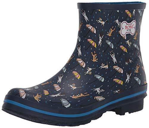 Skechers womens Check Rain Boot, Navy/Multi, 7 US