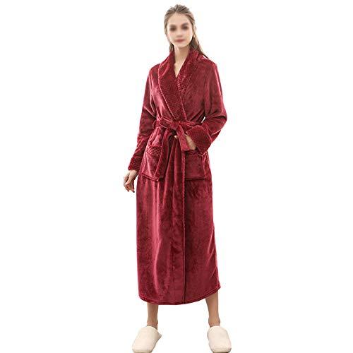HAOXIANG Bata De Invierno De Talla Grande para Mujer, Lujoso Y Esponjoso Albornoz De Franela Alargada para Mujer con Bolsillos con Cuello En V Cinturón Rojo Bata para Regalos De Boda En Casa,XL