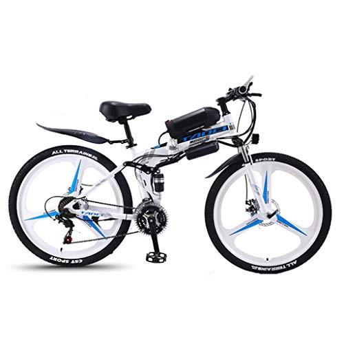 JXXU - Bicicleta eléctrica plegable de 26 pulgadas para adultos, 36 V, 350 W, 8 Ah, batería de iones de litio intercambiable, freno de disco doble, blanco